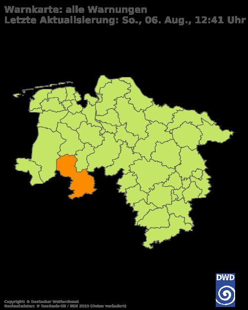 Aktuelle Wetterwarnungen für Oberbergischer Kreis