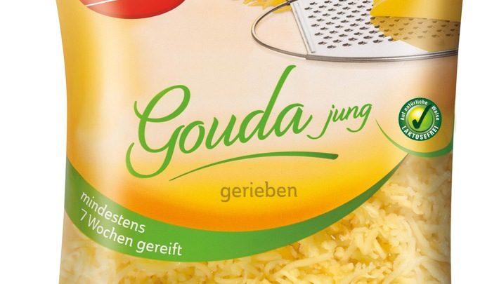 """Der niederländische Hersteller Delicateur informiert über einen  Warenrückruf des Produktes """"Milbona Gouda jung gerieben, mindestens 7  Wochen gereift, 250g""""."""
